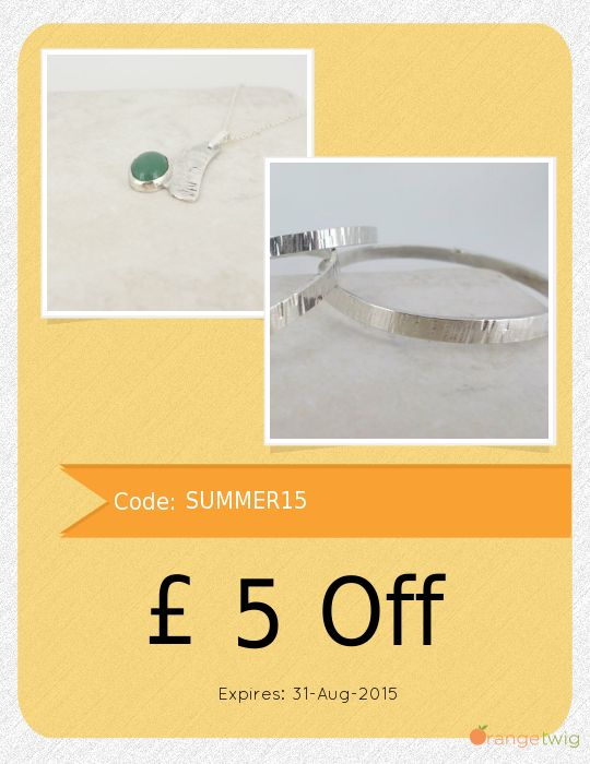 Get GBP 5.00 OFF our Entire Store now! Enter Coupon Code: SUMMER15 Restrictions: Min purchase: GBP 40.00, Expiry: 31-Aug-2015. Click here to avail coupon: https://orangetwig.com/shops/AAAr0UM/campaigns/AABCewG?cb=2015007&sn=MiJewellery&ch=pin&crid=AABCewX