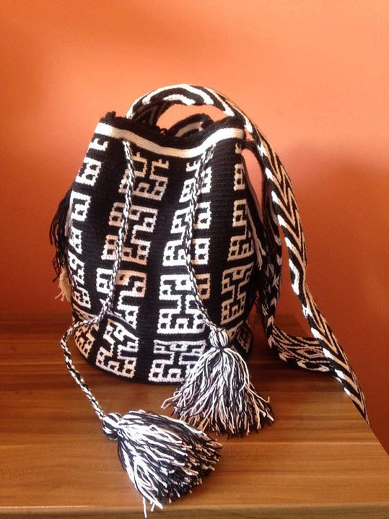 Colombian handmade mochilla bag black and white by GitanaMaria: