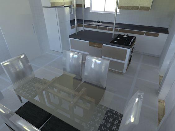 Estudo de cozinha para um projeto de casa.