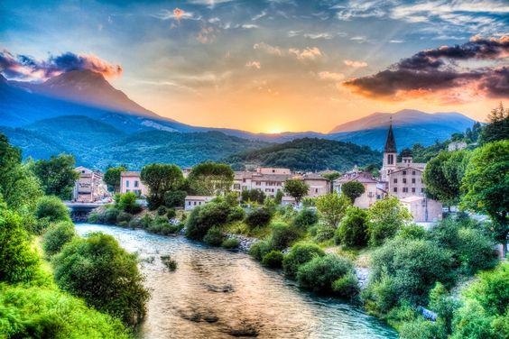 Sunset in Castellane - near Provence, France.