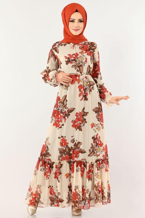 Modaselvim Elbise Cicek Desenli Sifon Elbise 1193ant317 Krem Sifon Elbise Elbise Elbise Modelleri