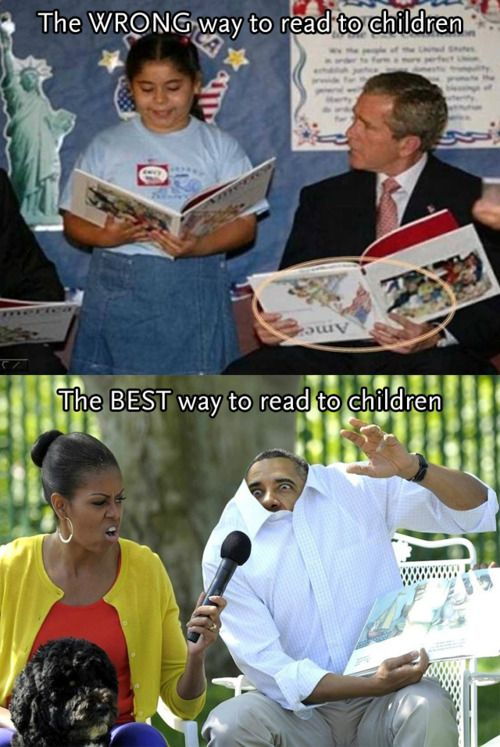 I don't care what political party you belong to. Barack and Michelle Obama know how to read to children hahahah