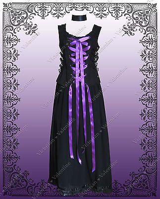 Steampunk Victorian Renaissance Civil War Gothic Dress Corset Shirt & Skirt  L