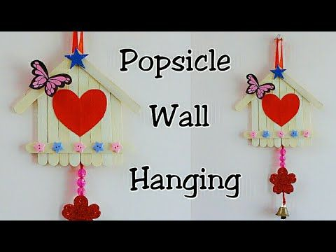 Popsicle Sticks Wall Hanging Ice Cream Sticks Crafts Wall Decoration Ideas Using Popsicle Sticks Youtub Craft Stick Crafts Ice Cream Stick Popsicle Stick Diy