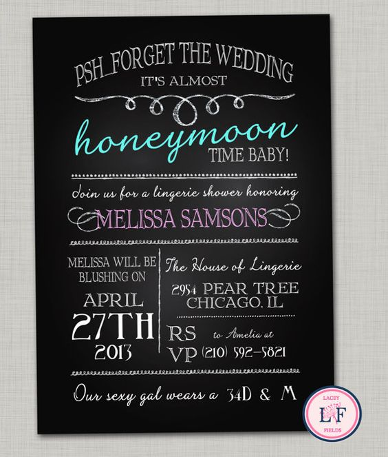 Chalkboard lingerie shower invitations Bachelorette party invites