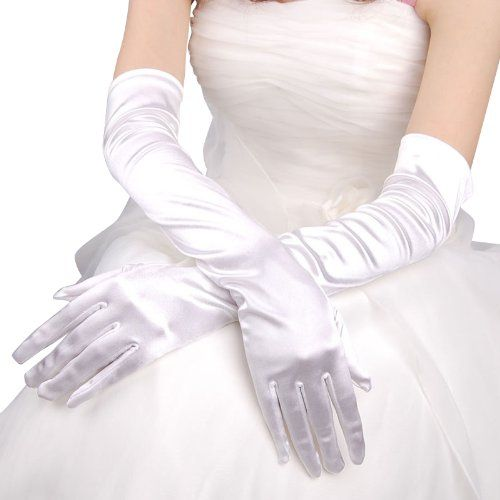 Artwedding Opera Satin Wedding Gloves-White-One Size