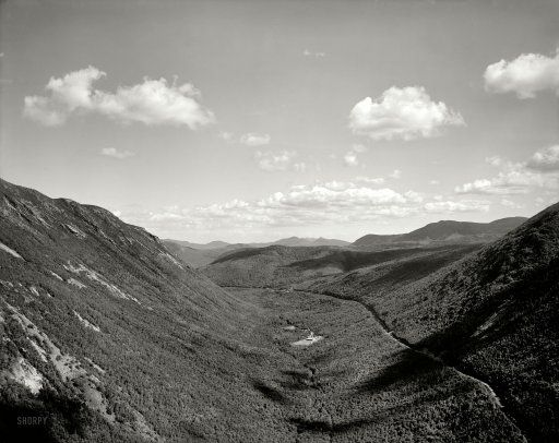 """New Hampshire circa 1900. """"Crawford Notch from Mount Willard, White Mountains."""" And on the horizon, the Grayscale Range."""