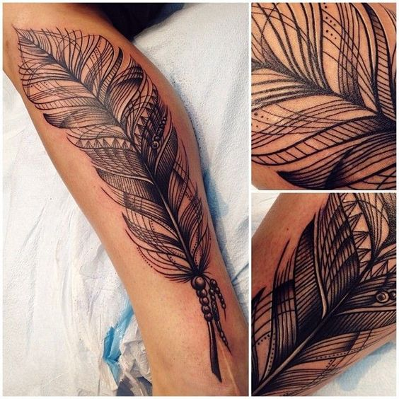 Great linework feather tattoo | Tattoomagz.com