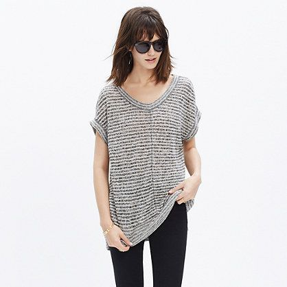 $65.00 Linen Side-Vent Tunic Tee in Stripe | Madewell