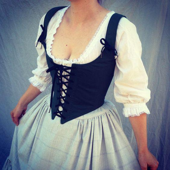 Ren Faire Renaissance Bodice Lace Up Vest Steampunk Pirate Wench Black Under Bust Underbust Renn Fair Medieval Costume Custom Size