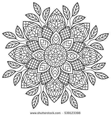 Mandala Malbuchseiten Indisches Antistress Medaillon Abstrakter Islamischer Fluss Mandalas A Mandala Ausmalen Malbuch Vorlagen Muster Malvorlagen