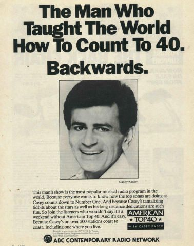 Top 40 with Casey Kasem! Used to LOVE America's Top Ten on late night ITV in the early-mid 90's! The mysterious ways of the Country Chart! Very confusing for a teenager in the UK ... just who is Tim McGraw?