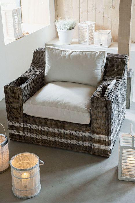 rattan chair, white cushions and white lanterns - riviera maison: