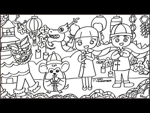 Cara Menggambar Tema Chinese New Year Tahun Baru Imlek 2020