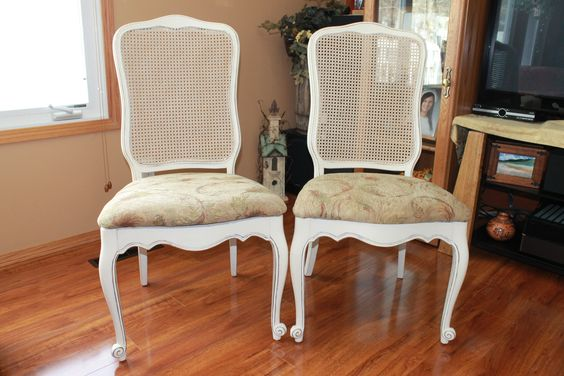 1950's walnut chairs found in a second hand shop. Painted with old white chalk paint and reupholstered.