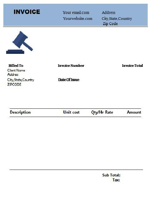 Pin On Legal Invoice Template