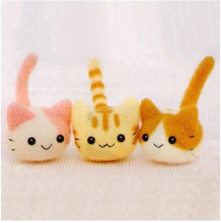 DIY felting kit handmade supplies Japanese Felt Wool Kit Japanese Package needle workphone hanging accessories cute animal cats H441-367