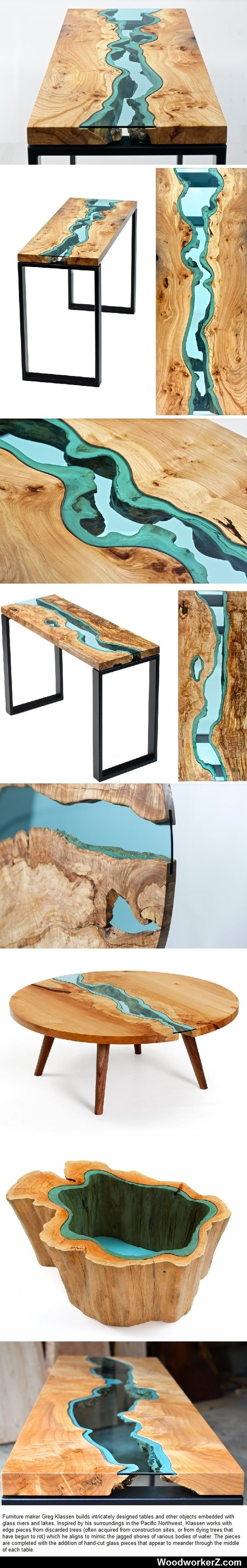 Wood Furniture Embedded with Glass Rivers and Lakes by Greg Klassen.