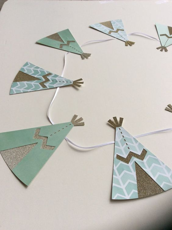 Teepee Banner, tepee, banner, indian, baby indian, native american, cute, party, decorations
