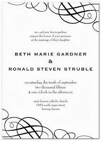 Invitaciones de boda modernas en blanco y negro | Black and White Wedding Invitation