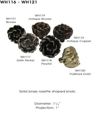 Whitehaus Collection-Cabinet Knob-Solid Brass Rosette Shaped Knob
