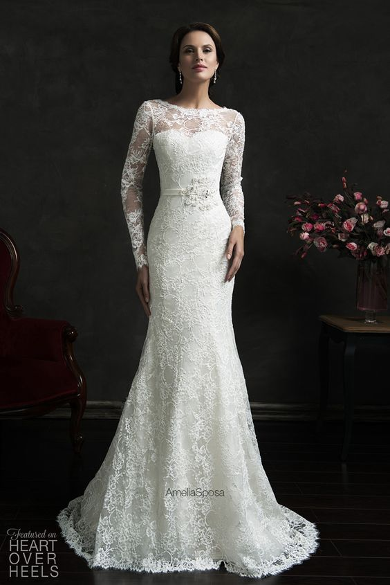 Super pretty wedding dress! Amelia Sposa Spring 2015 Wedding Dresses #lace #high neck