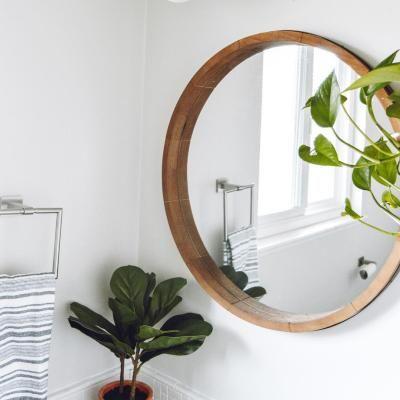 Round Decorative Wall Mirror Wood, Round Wood Frame Mirror Uk