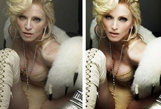 Madonna before and after Photoshop. #beauty #selfesteem