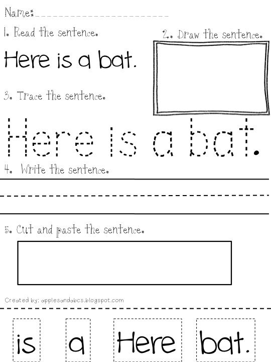 ELL TimeReading and Writing Simple Sentences Use this template – Writing Sentences Worksheets