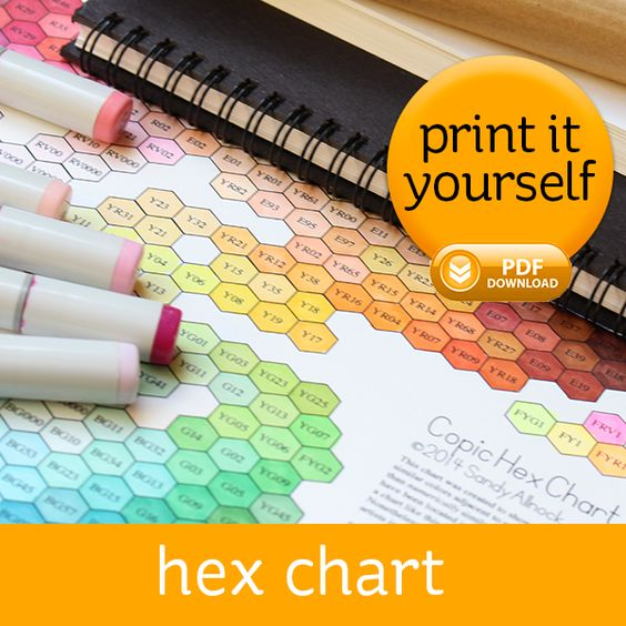 The Hex Chart is a digital download designed to show the visual color…