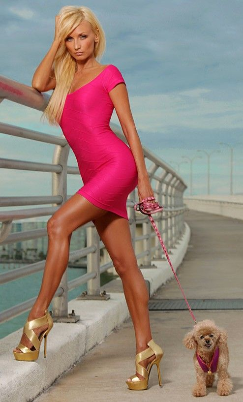 vivid hot pink sexy gold heels..... only the shoes and the puppy ...