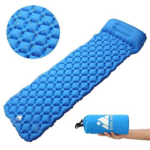Evoland Camping Sleeping Pad With Pillow For Camping Backpacking Hiking Lightweight Waterproof Compact D Camping Pillows Camping Sleeping Pad Camping Mat