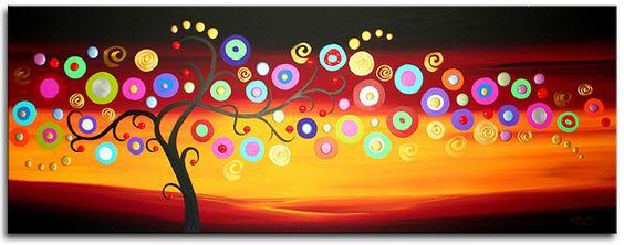 Een prachtige abstract geschilderd schilderij met een afbeelding van een abstracte boom.Het kunstwerk heeft ontzettend mooie kleuren.