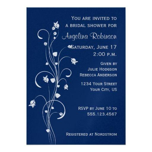 Navy Light Gray Floral Design Bridal Shower Invite