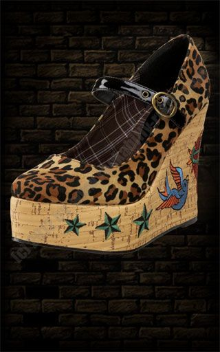 High Heel Wedge Mary- Jane Leopard