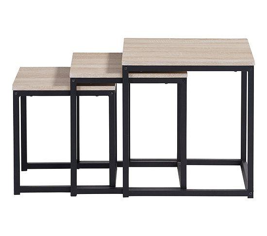 Table Basse Gigogne Neva Industrielle Chene Noir Table Basse But En 2020 Table Basse Gigogne Table Basse Deco