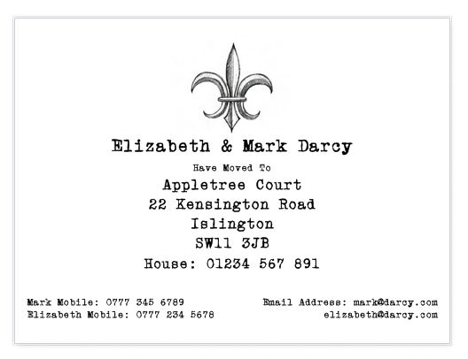 These illustrated hand drawn change of address cards are perfect for keeping everyone up to date with your move. This set features a hand drawn Fleur-De-Lis.