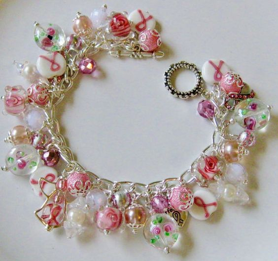 Breast Cancer Awareness Bracelet Pink Silver Bead, Glass & Acrylic, Lampwork Beads, Hope For the Cure