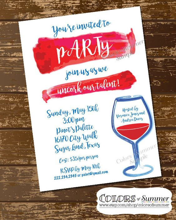 Wine design wine parties and invitations on pinterest for Wine paint party