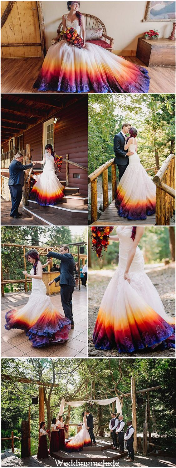 Dip Dye Wedding Dress Trend Will Make Your Big Day More Colorful #dresses: