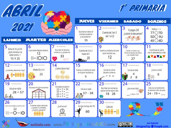 Calendario Primero ABN – Abril 2021