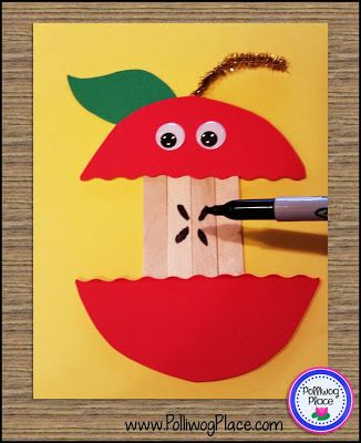 September apple craft for kids. This cute apple core is made with craft sticks and paper.