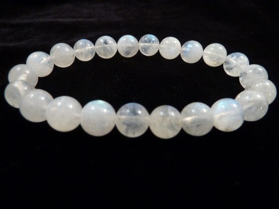 Indian Rainbow Moonstone Stretch Bracelet 8mm Smooth Round Polished Gemstone Beads by SandiLaneFineArt on Etsy