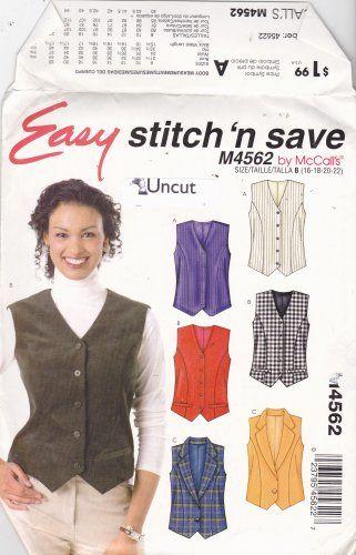McCall's Stitch N Save M4562 Pattern 16 18 20 22 Uncut Lined Vest Plus