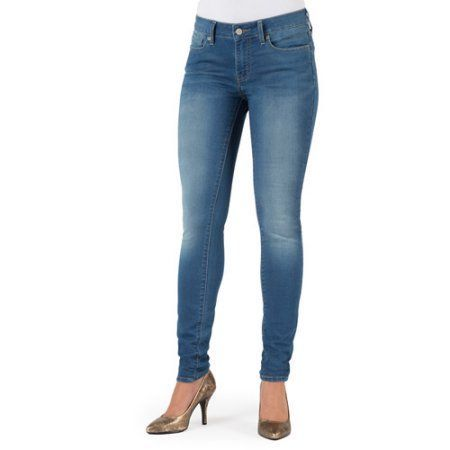 Signature by Levi Strauss & Co. Totally Comfy Super Skinny Jeans, Size: 16L, Blue