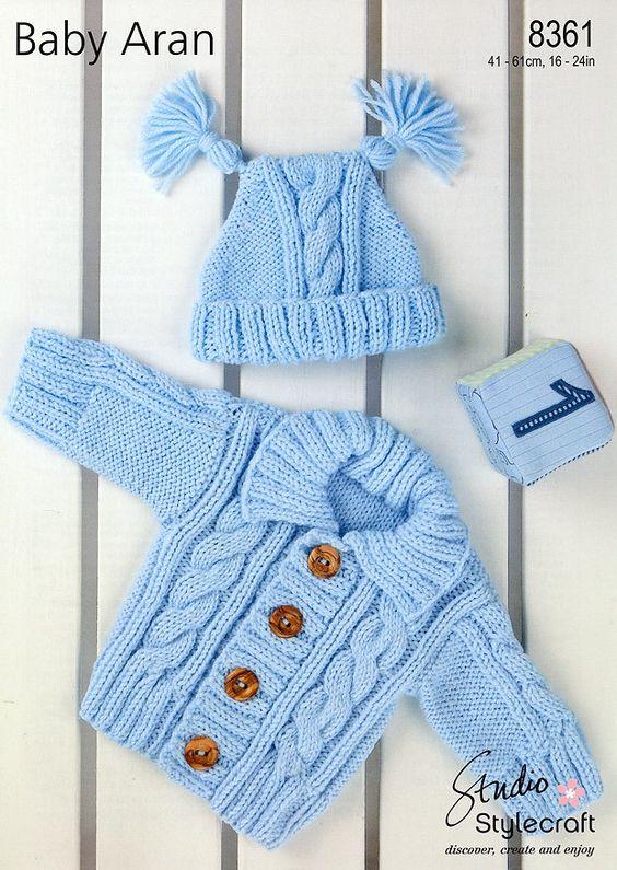 Deramores Knitting Patterns : Cardigan & Hat in Stylecraft Baby Aran (8361) Hat Knitting Patterns K...