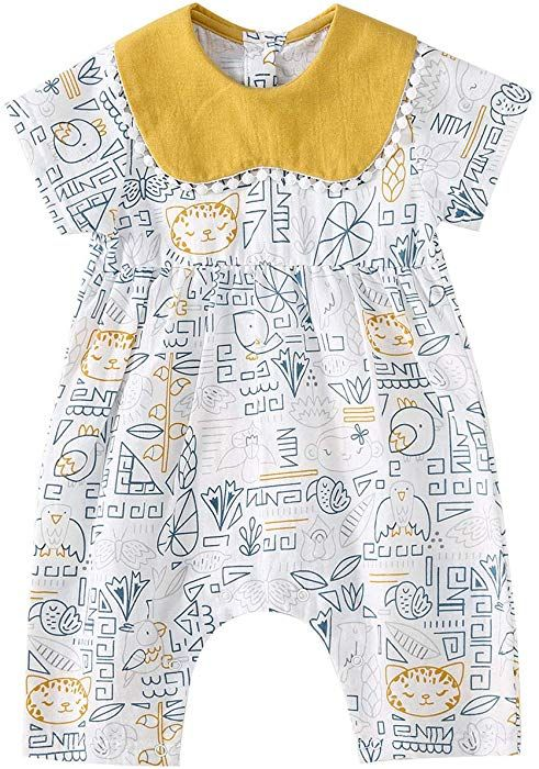 pureborn Baby Girls Short Sleeve Romper Summer Soft Cute Cool Cotton Outfit