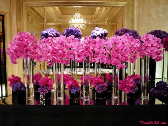 Pink Orchids and Purple Hydrangeas. George V, Paris