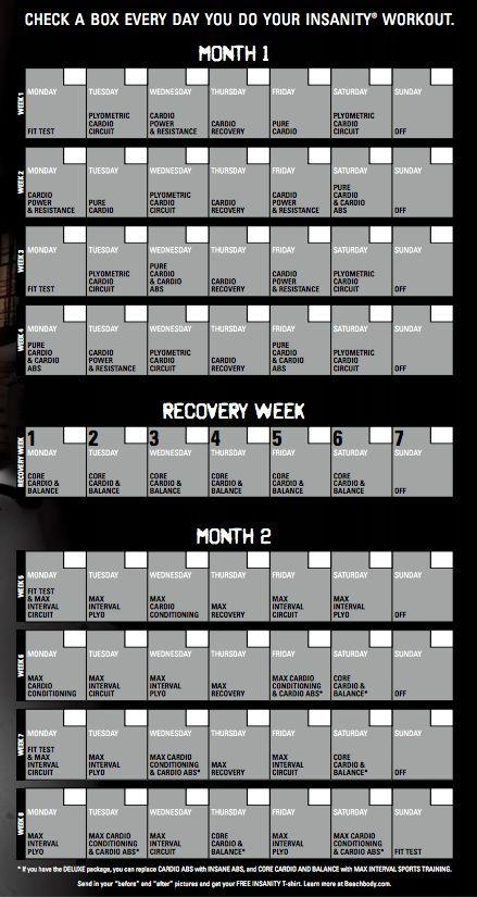Insanity 60 Day Workout Calendar