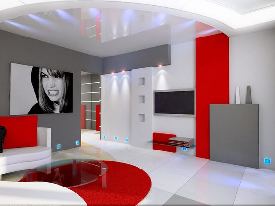 id e deco salon gris blanc rouge d co rouge et salons. Black Bedroom Furniture Sets. Home Design Ideas
